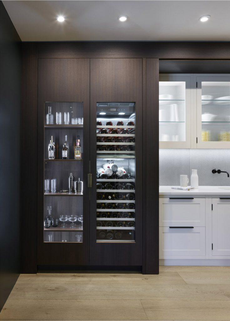 Contemporary fumed Oak bespoke kitchen Cabinets with Gaggenau RW282260 Wine Fridge and drinks cabinet