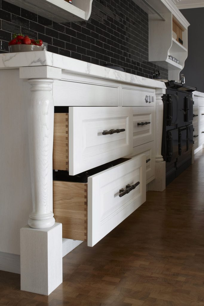 Modern Kitchen with solid oak pan drawers made using traditional dovetail joints