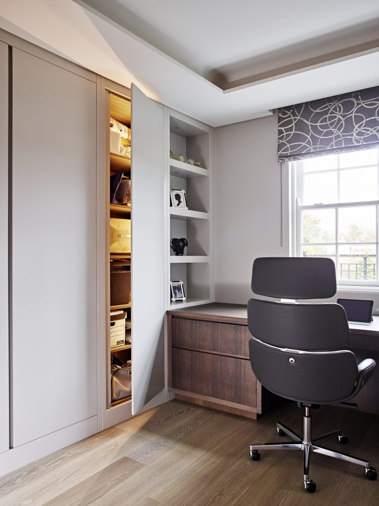 Fitted Home Office Furniture with secret door concealing audio equipment