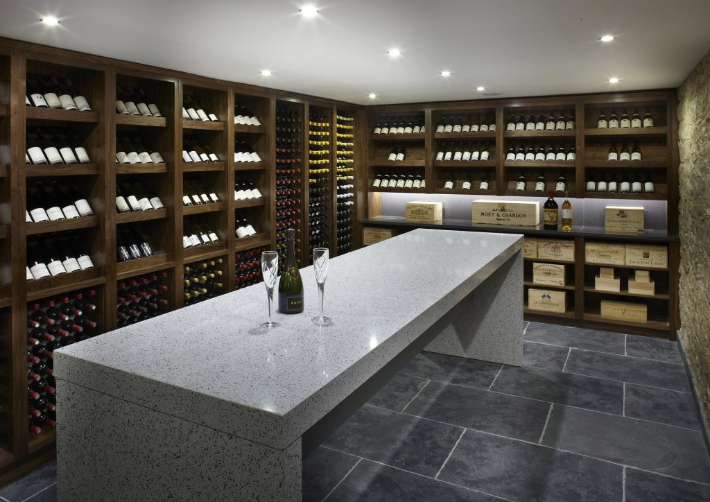 Walnut Wine Storage with contemporary wine tasting stone table