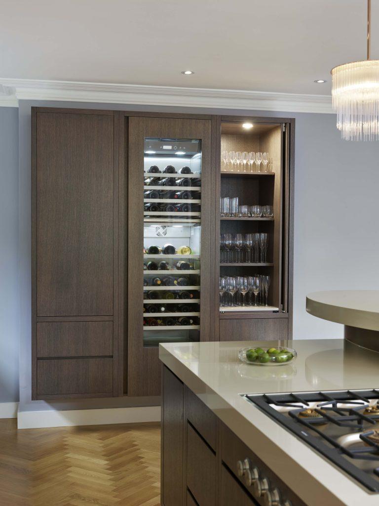 Stained oak wine storage and Kitchen Island Design