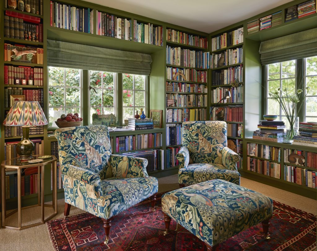 Floor to ceiling painted Library Bookcase in traditional arts and craft house