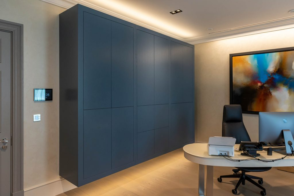 Floating contemporary office cabinets by Chamber Furniture