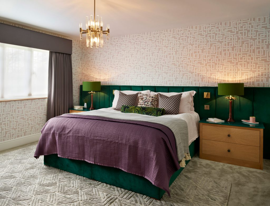 Custom made bedside cabinets in Oak with starburst veneer