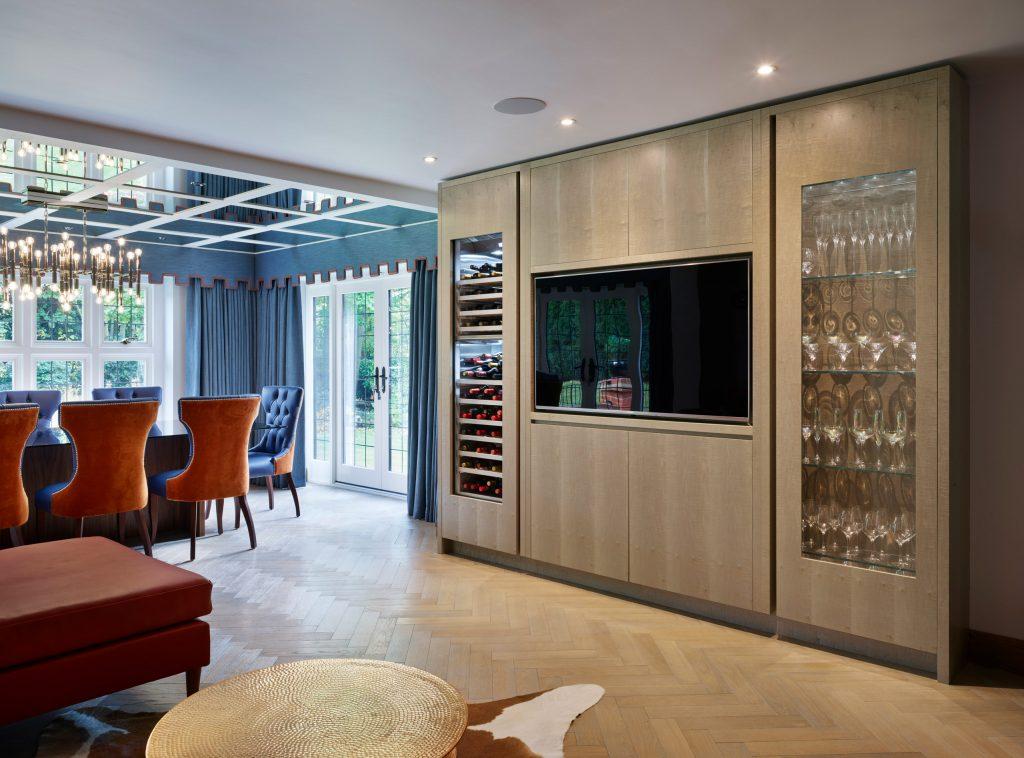 Chamber Furniture Gaggenau RW466364 Wine Storage and bespoke media unit with contemporary glass cabinet in Modern Kitchen Design