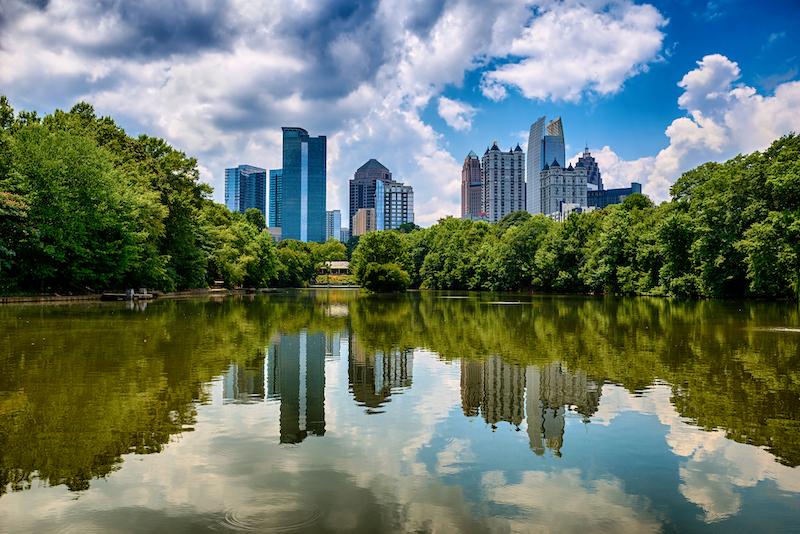Skyline of downtown Atlanta, Georgia from Piedmont Park